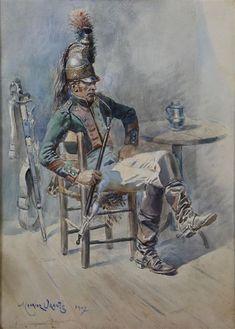"Artwork by Maurice-Henri Orange, ""Militaire casqué fûmant la pipe"", Made of watercolor Napoleon Waterloo, Waterloo 1815, Battle Of Waterloo, Military Weapons, Military Art, Military History, Military Uniforms, Empire, French Army"