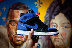 """Air Jordan 1 Retro """"Royal"""" '13 Release shot for client Project Blitz. Background oil on canvas painting by Anton S. Kandinsky titled """"I don't want to be Louis XIV. I want to be Kanye West."""""""