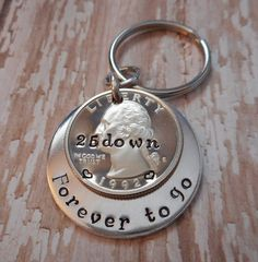 23b9ec5a2a4ed 25 Years Down and Forever To Go 25th Wedding Anniversary with Hearts  Stamped on Quarter Gift for Him or Her w  Personalized Options