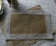 Burlap and lace table place mats by Bannerbanquet on Etsy