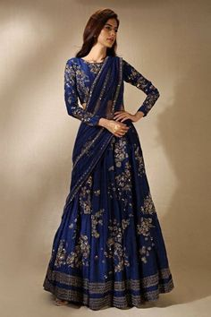 Wearing a blue bridal lehenga for your big day? These blue bridal lehengas will up your glamour quotient. The unique lehenga is in huge demand nowadays. Take cues from these designer lehenga. Indian Lehenga, Lehenga Sari, Lehnga Dress, Indian Gowns, Indian Attire, Lehenga Style, Sarees, Lehenga Choli Designs, Designer Bridal Lehenga