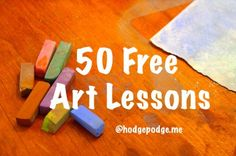 Welcome to our Hodgepodge free listing of chalk pastels, acrylics and video art tutorials for all ages. This list of free tutorials is always being updated. Rather than 50, we now have 100 free art tutorials! Please scroll down for a list of printable lessons. Click on each link to view and print