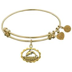 Antique  smooth finish brass dolphin angelica bracelet (115 AUD) ❤ liked on Polyvore featuring jewelry, bracelets, white bangle bracelet, dolphin charm, adjustable bangle bracelet, antique jewellery and expandable bangle bracelet