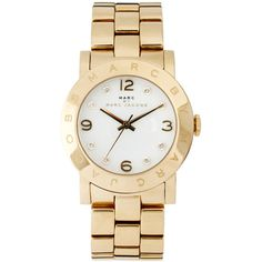 Marc Jacobs Amy Gold Bracelet Watch MBM3056 ($200) ❤ liked on Polyvore featuring jewelry, watches, accessories, bracelets, relógios, gold, gold crown jewelry, watch bracelet, gold jewellery and gold crown