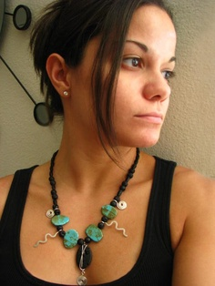 Bohemian Chinese Turquoise and Lava Necklace $62.00