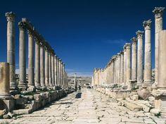 The collonnaded street in the roman ruins of Jerash, Amman, Jordan