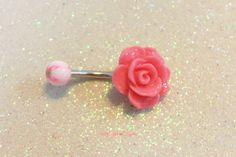 Cute rose belly button jewelry with 12 mm salmon rose 14 ga 12mm bar | YOUniqueDZigns - Jewelry on ArtFire