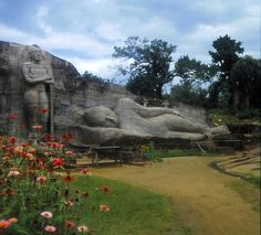"""Polonnaruwa, Sri Lanka, Funny, I've got another pic of these 2 giant statues just """"chilling"""" on this same page of mine! I sooo wanna go"""