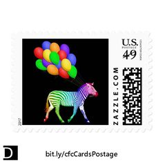 Is it party time yet? These fun U.S. first class postage stamps feature a rainbow colored zebra pulling a bunch of colorful balloons with strings he's holding in his mouth. #StudioDalio colorful stationery