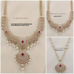 These Detachable Diamond Jewellery Designs Will Blow Your Mind! • South India Jewels Indian Jewellery Design, South Indian Jewellery, Indian Jewelry, Jewelry Design, Diamond Jewelry, Gold Jewelry, 22 Carat Gold, Ruby Necklace, Wedding Jewelry