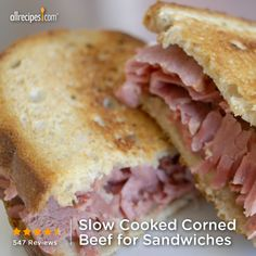 "Slow Cooked Corned Beef for Sandwiches | ""WOW! That's all I can say about this recipe. Super simple, and it is the BEST corned beef recipe hands down!"""