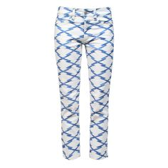 ETOILE ISABEL MARANT Nessa Pants White/Blue ($75) ❤ liked on Polyvore featuring pants, jeans, calças, trousers, isabel marant, blue trousers, five pocket pants, white crop pants, patterned trousers and white cropped trousers