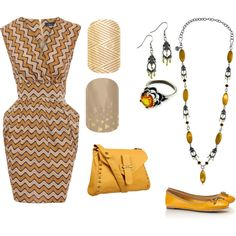 yellow and gold chevron dress with mustard bag and shoes, Mialisia Ambititious necklace, Mialisia Optimistic ring, Mialisia Charming earrings http://carolyn.mialisia.com, and Jamberry Nails Gold Crisscross and City Lights http://woodburn.jamberrynails.net/