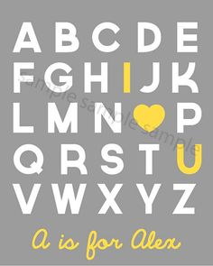 Printable Alphabet Nursery Art 'I Love You' by littleforests, $5.00