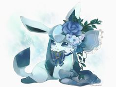 Snow Flower by Cachemire1008 (I like the bow here) ...  glaceon, pokemon