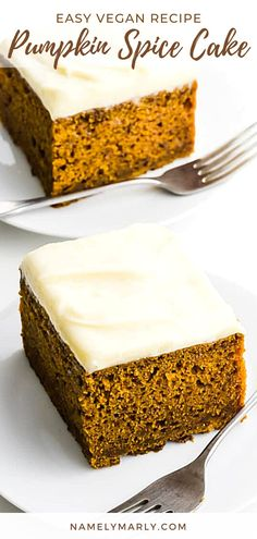 This easy Pumpkin Spice Cake will make the best party cake! It's so easy, you only need less than an hour to make it and it's bursting with moisture and flavor. It's made even flavorful with a delicious vegan cream cheese frosting! Enjoy!   #namelymarly #pumpkinspicecake #vegancreamcheesefrosting #vegancake #vegan Best Vegan Desserts, Vegan Sweets, Sweet Desserts, Vegan Recipes Easy, Vegan Food, Spice Cake Recipes, Sweets Recipes, Snack Recipes, Kitchen Recipes