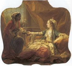 Madame de Pompadour as a Sultana being served coffee ,1752 by Charles Andre van Loo