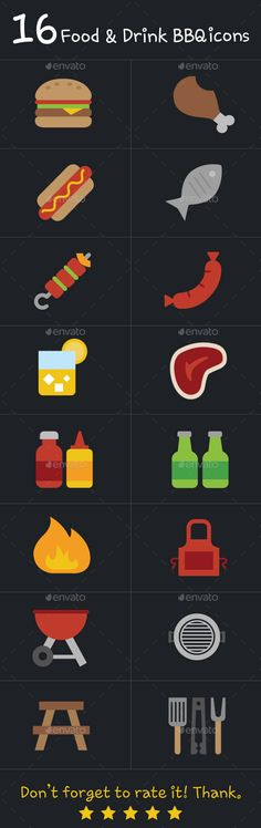 16 Food and Drink BBQ Icons