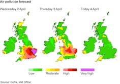 Air pollution reaches high levels in parts of England.