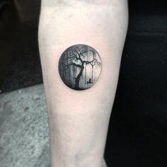 minimal tattoo miniature tiny ink circle tree swing cat tattoo