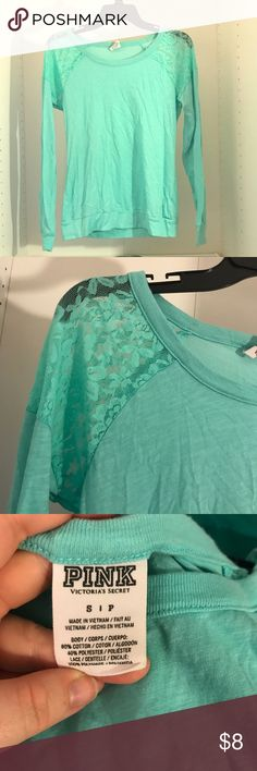 PINK Long Sleeve T with Lace Detailing Mint green. Size S. Lace Detailing in shoulders. Banded at the bottom and on the wrists. PINK Victoria's Secret Tops