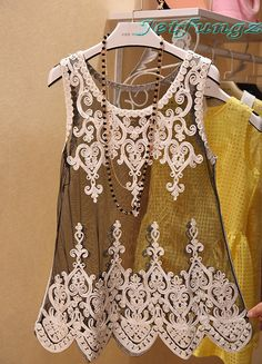 Women Summer Sexy Floral Sleeveless Crochet Knit Lace Vest Tank Top Shirt Blouse #Fashion #Blouse #Casual