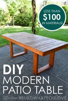 West Elm Inspired DIY Patio Table DIY modern patio table, a perfect Kreg Jig beginner's project Resin Patio Furniture, Backyard Furniture, Diy Outdoor Furniture, Backyard Patio, Backyard Ideas, Diy Furniture, Furniture Outlet, Furniture Layout, Furniture Stores