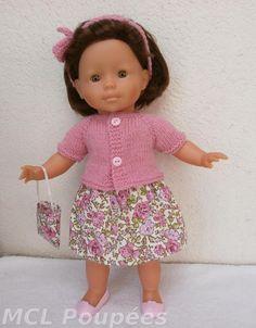 a331183fa990be Habits poupée 36 cm - Ensemble rose, jupe, gilet, bandeau et sac à main