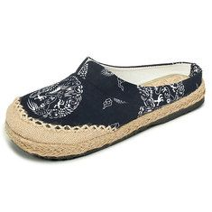 Women Casual Cotton Flax Outdoor Comfortable Round Toe Flat Loafer Shoes