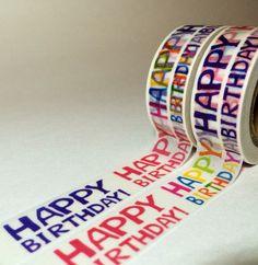 Multi Color Happy Birthday Washi Tape by DaisyGreyPretties on Etsy https://www.etsy.com/listing/244379922/multi-color-happy-birthday-washi-tape