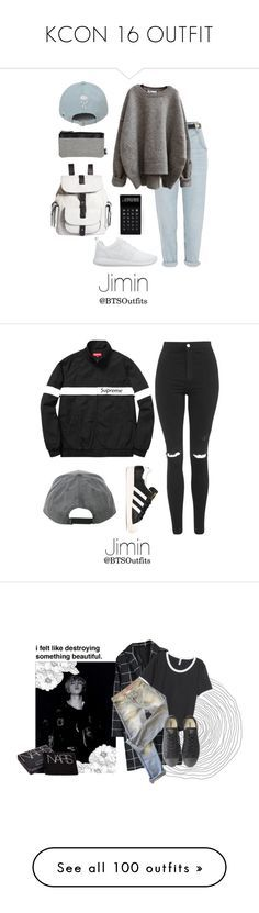 """KCON 16 OUTFIT"" by alexa-ray-villacorte ❤ liked on Polyvore featuring River Island, NIKE, Kenneth Cole Reaction, LEXON, Topshop, adidas, Chicwish, H&M, Each X Other and Converse"