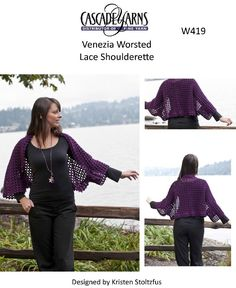 Lace Shoulderette in Cascade Venezia Worsted - W419. Discover more Patterns by Cascade Yarns at LoveKnitting. The world's largest range of knitting supplies - we stock patterns, yarn, needles and books from all of your favorite brands.
