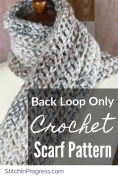 Are you looking for a quick and easy crochet scarf pattern? Try out this beginner-friendly free crochet scarf pattern that uses the back loop only stitch. Crochet Mens Scarf, Chunky Crochet Scarf, Crochet Yarn, Chunky Yarn, Crochet Scarves For Men, Crochet Scarfs, Knit Cowl, Crochet Granny, Knitted Shawls