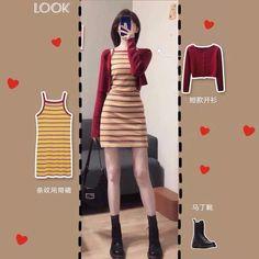 Korean Fashion Shorts, Ulzzang Fashion, Kpop Fashion Outfits, Korean Outfits, Womens Fashion, Asian Street Style, Dress Up, Bodycon Dress, Fashion Illustration Sketches