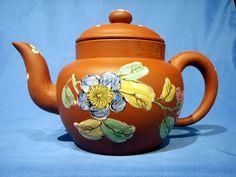 Globular Straight Neck Enamel Decorated Yixing Teapot Yixing Teapot, Tea Pots, Enamel, Clay, Decor, Love Birds, Clays, Vitreous Enamel, Decoration
