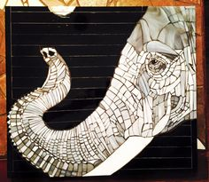 """""""Elephant"""" Hand cut stained glass mosaic."""