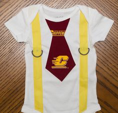 Central Michigan University Tie and Suspenders Onesie by rebasheba