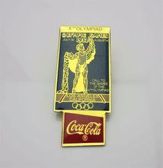 Vintage Olympic Poster Pin Badge 1932 Los Angeles LA Coca Cola 1990 Xth Olympia Sports Olumpics Souvenir Memorabilia