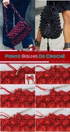 Crochet Stitches, Knit Crochet, Crochet Prayer Shawls, Popcorn Stitch, Crochet Clutch, Crochet Woman, Crochet Videos, Chrochet, Knitted Bags