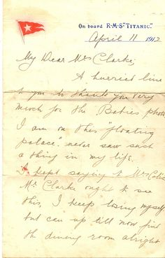 on board letter from 1st class passenger stanley may to mrs clarke