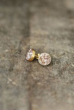 IN STOCK • Rose Gold Druzy Studs, Druzy Earrings, Bridesmaid Jewelry, Rose Gold Earrings, Glitter Studs, Amulette Jewelry on Etsy, $78.00