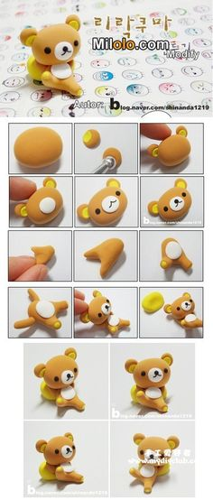 韩国的超轻粘土制作,Clay Crafts, Fimo, Sculpey , Modelling , Polymer Crafts with Sculpting clay , Free Kids Activities , Clay Projects, Templates and Ideas , Cute, Adorable , Kawaii, Critters and Creatures,teddy