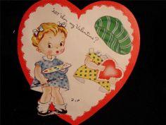 "VINTAGE ""PAPER DOLL VALENTINE!! VALENTINE GREETING CARD - UNPUNCHED"
