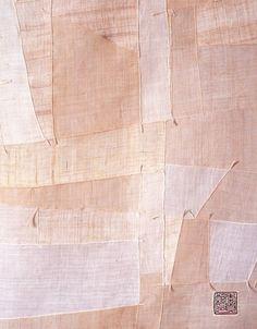 chunghi lee (korean) fabric assemblage 1999 (raw hemp, cloth, stitched)