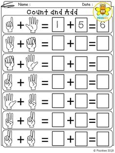 Free Kindergarten Math Addition Worksheet for Winter Kindergarten Addition Worksheets, First Grade Math Worksheets, Printable Math Worksheets, Kindergarten Math Activities, Preschool Math, 1st Grade Math, Pre Kindergarten, Teaching Addition, Math Math