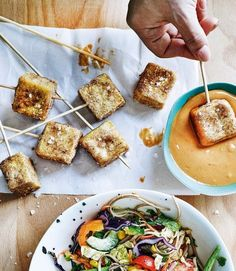 Elly Pear's tofu 'chicken' nuggets are a quick, easy and full of flavour. Pop on the end of skewers and serve with the satay dressing for party food that both vegans and meat-lovers will enjoy. Tofu Recipes, Vegetarian Recipes, Snack Recipes, Snacks, Vegan Soups, Uk Recipes, Summer Recipes, Dinner Recipes, Tofu Nuggets Recipe