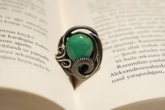handmade turquoise ring-energy-reiki- wire wrapped jewelry handmade-Adjustable ring-silver ring. $18.00, via Etsy.