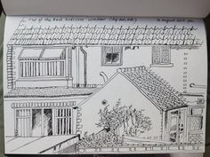 19 August - view from the back bedroom window, experimenting with dip pen and ink Dip Pen, Bedroom Windows, Diagram, Ink, Drawings, Illustration, Sketches, Fountain Pen, Illustrations