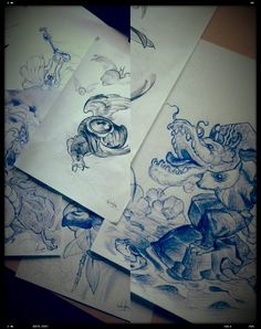 Some killer sketches by Will Wonka who is tattooing at Human Fly Tattoo Studio. Spanish Tattoo Scene. #tattoo #tattoos #ink