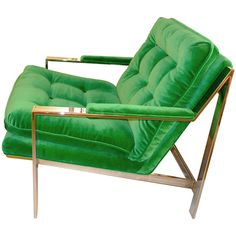 """Milo Baughman for Thayer Coggin Chrome Lounge Chair  USA  1970's  Beautiful tufted and polished chromed steel modernist lounge chair by Milo Baughman for Thayer Coggin. Very similar to his cube like chrome chair except this one has the """"sled"""" arms. Newly upholstered in emerald green velvet"""